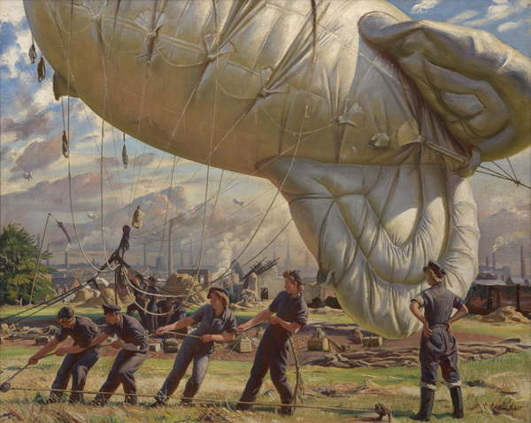 Image of the painting A Balloon Site, Coventry, 1943 (oil on canvas), Laura Knight, (1877-1970) / Imperial War Museum, London, UK / Bridgeman Images