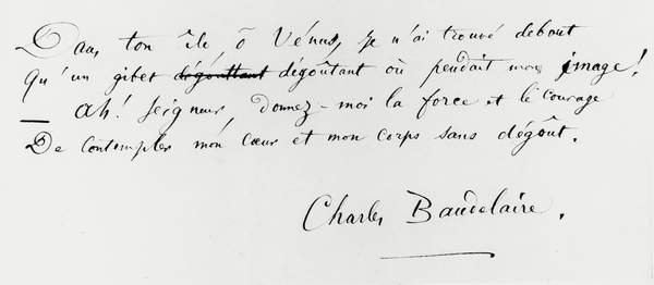 image of 'Voyage a Cythere' end of the poem with autograph signature (pen & ink on paper) (b/w photo), Baudelaire, Charles Pierre (1821-67) / Private Collection / © Archives Charmet / Bridgeman Images