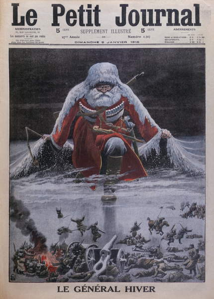 General Winter, front cover illustration from 'Le Petit Journal', supplement illustre, 9th January 1916 (colour litho), Bombled, Louis Charles (1862-1927) / Private Collection / © Archives Charmet / Bridgeman Images