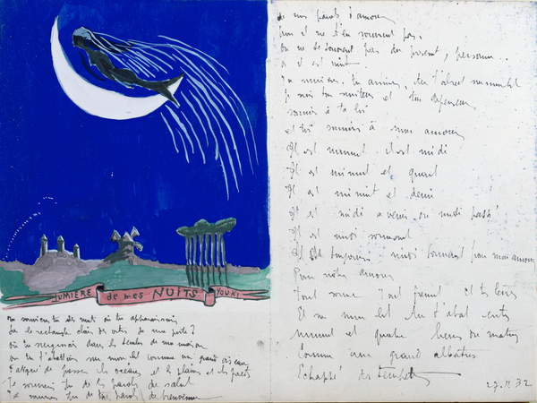 image of the poem Light of my Nights, illustrated handwritten poem, 27th November 1932 (gouache on paper), Desnos, Robert (1900-45) / Bibliotheque Litteraire Jacques Doucet, Paris, France / © Archives Charmet / Bridgeman Images