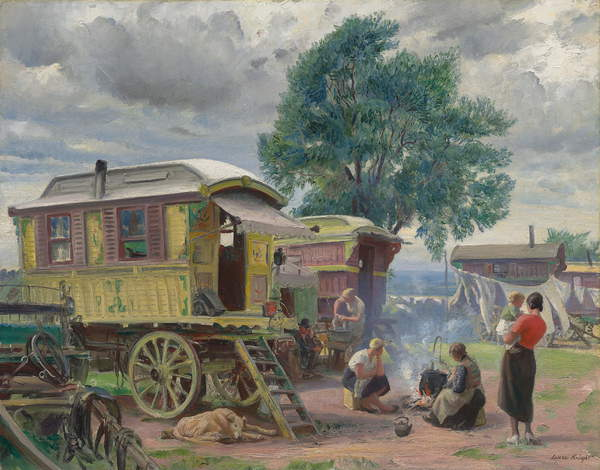 Image of the painting Gypsies caravans (oil on canvas), Laura Knight, (1877-1970) / Private Collection / Photo © Christie's Images / Bridgeman Images