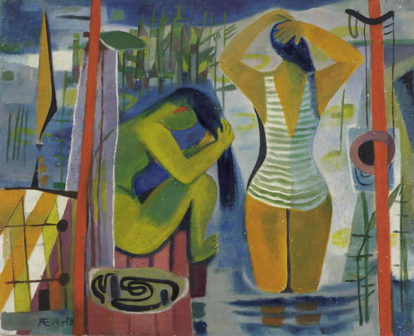 photograph of the artwork Women by a Lake, c.1945-50 (oil on hardboard), Anneliese Everts, (1908-1967) / Private Collection / © Annaliese Everts / Bridgeman Images