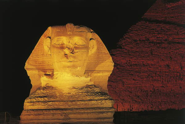 Egypt Photography – photo of Great Sphinx and Chefren pyramid behind at night