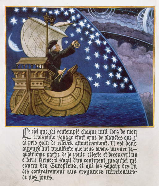 photo of Amerigo Vespucci navigating by the stars on his 3rd voyage (colour litho), French School / Private Collection / © Archives Charmet / Bridgeman Images