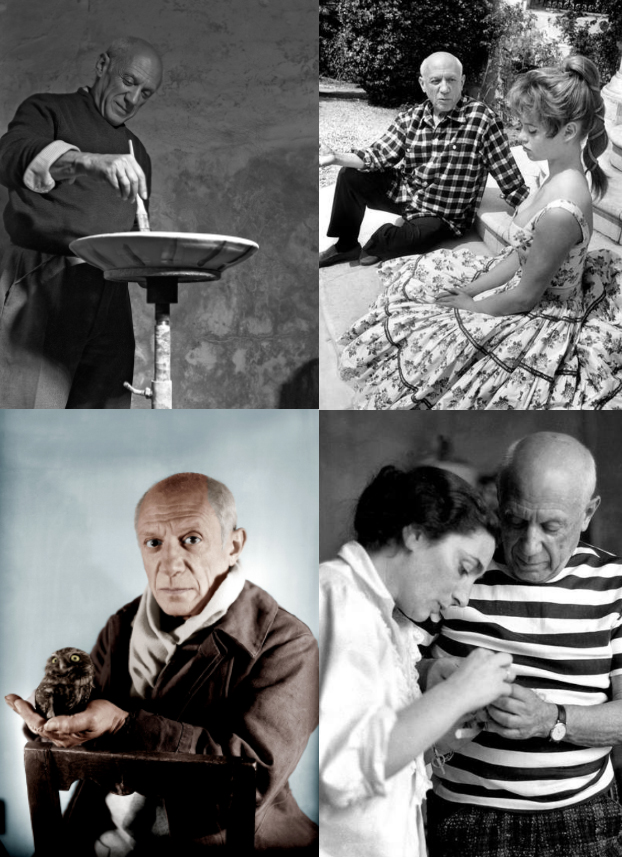 Montage of Pablo Picasso photos depicting the artists life