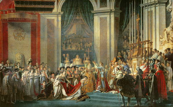 The Consecration of the Emperor Napoleon (1769-1821) and the Coronation of the Empress Josephine (1763-1814) by Pope Pius VII, 2nd December 1804, 1806-7 (oil on canvas), Jacques Louis David (1748-1825) / Louvre, Paris, France