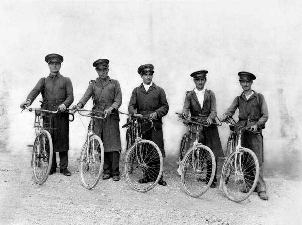 The 'Five Musketeers' of Spoleto, pest control officers with their bikes, c.1930 (gelatin silver print), Jules Brocherel