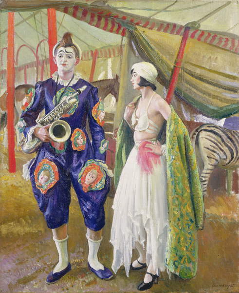 A Musical Clown, 1930 (oil on canvas), Laura Knight (1877-1970) / Harris Museum and Art Gallery, Preston, Lancashire, UK / Bridgeman Images
