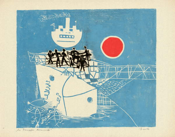 photograph of The Steamer Comes (linoprint on paper), Anneliese Everts (1908-1967) / Private Collection / © Annaliese Everts / Bridgeman Images