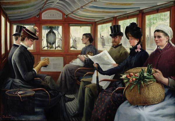 In the Omnibus, 1880 (oil on canvas), Maurice Delondre (19th century) / Musée de la Ville de Paris, Musée Carnavalet, Paris, France / Bridgeman Image