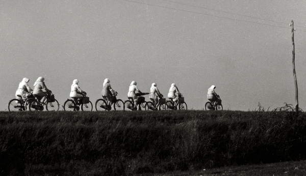 line of women workers from last century cycling through a field in Italy