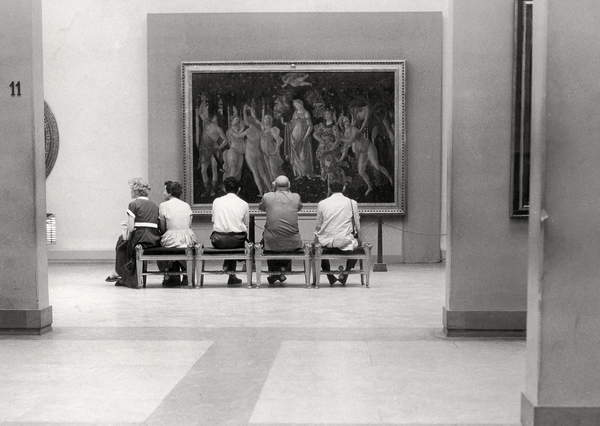 group of tourists admiring the Primavera by Botticelli in Uffizi Gallery, Florence, 50's, 60's