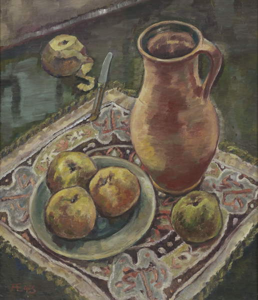 photo of the artwork: Still life with Jug, 1943 (oil on hardboard), Anneliese Everts, (1908-1967) / Private Collection / © Annaliese Everts / Bridgeman Images