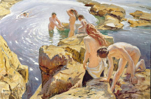 The Bathers, 1954, Laura Knight, (1877-1970) / Private Collection / Jonathan Cooper, Park Walk Gallery, London, UK / Bridgeman Images