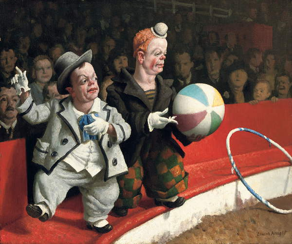 Image of the painting Laugh Clown Laugh, 1929 (oil on canvas), Laura Knight, (1877-1970) / Private Collection / Photo © Christie's Images / Bridgeman Images