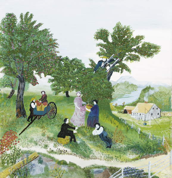 Apple Pickers, c.1940 (oil on board) Anna Mary Robertson Moses (Grandma Moses) (1860-1961) / Private Collection / Photo © Christie's Images / Bridgeman Images