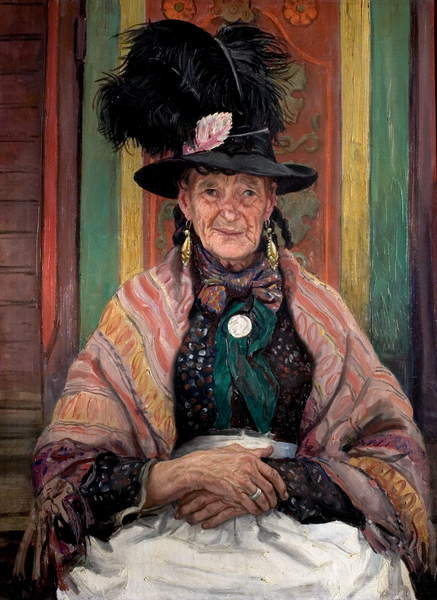 Image of the painting Gypsy Splendour, aka Fine Feathers, 1939 (oil on canvas), Laura Knight, (1877-1970) / Nottingham City Museums and Galleries (Nottingham Castle) / Bridgeman Images