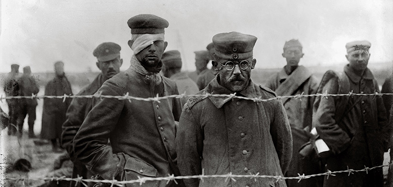 images of soldiers in a POW camp during WW1