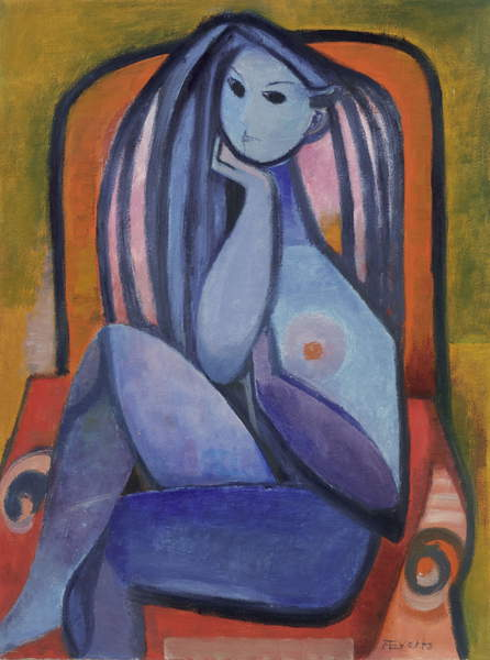 image of an Untitled painting dated 1950 by Annelise Everts of a blue sitting woman