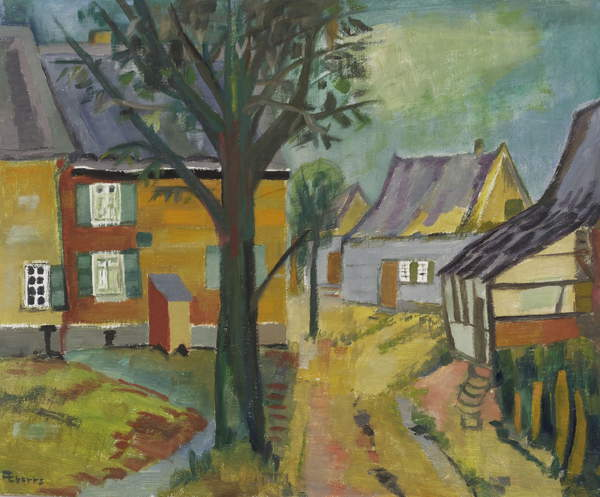 photo of a painting depicting  a path through houses. Detail: Untitled, c.1945-50 (oil on hardboard), Anneliese Everts, (1908-1967) / Private Collection / © Annaliese Everts / Bridgeman Images