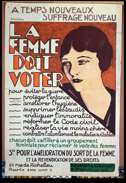 'Women Must Vote', poster encouraging women to fight for voting rights, c.1925-30 (colour litho), Barbey, Maurice (c.1880-p.1939) / Bibliotheque Marguerite Durand, Paris, France / © Archives Charmet / Bridgeman Images