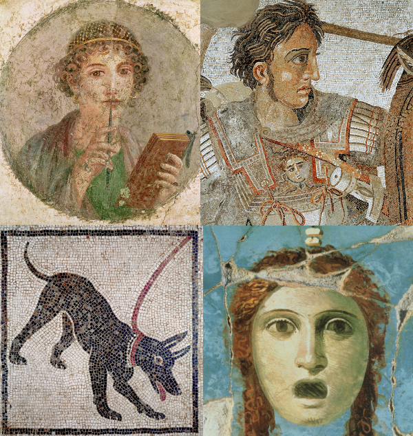 Montage of Pompeii images and photos of mosaics and frescoes found in Ancient Pompeii