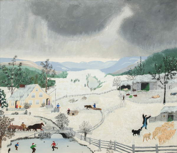December, 1943 (oil on pressed wood), Anna Mary Robertson Moses (Grandma Moses) (1860-1961) / Private Collection / Kallir Research Institute © Grandma Moses Properties Co / Bridgeman Images