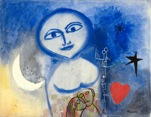 photo of a watercolour by Annelise Evert reminding of Chagalle