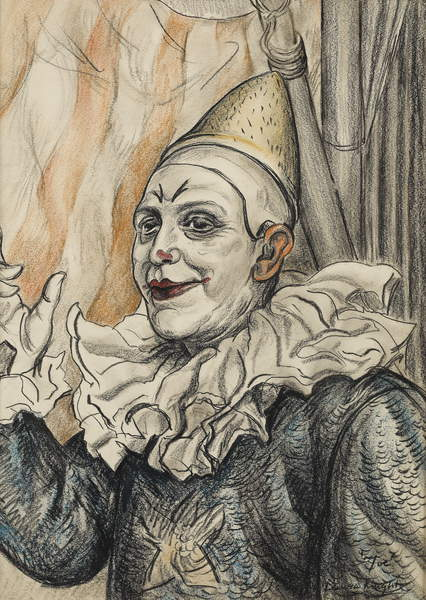 image of Joe Craxton the Clown (charcoal & wash on paper), Laura Knight (1877-1970) / Private Collection / Bourne Gallery, Reigate, Surrey / Bridgeman Images