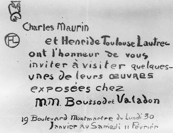 photo of an Invitation to an exhibition of the work of Charles Maurin and Henri de Toulouse-Lautrec (litho), French School, (19th century) / Private Collection / © Archives Charmet / Bridgeman Images