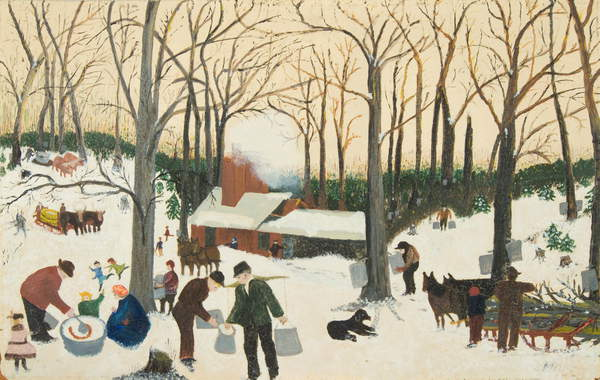 Bringing in the Maple Sugar, 1940 (oil on pressed wood), Anna Mary Robertson Moses (Grandma Moses) (1860-1961) / Private Collection / Kallir Research Institute © Grandma Moses Properties Co / Bridgeman Images