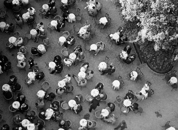shot from above, view of people sitting at tables in the Thermal tower plant in Montecatini Terme, Pistoia, Tuscany, Italy, 1954, 50's