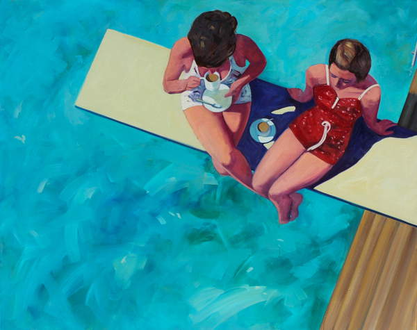 Diving Board Tea for Two, 2015, (oil on canvas), T.S. Harris / Private Collection / © T.S. Harris / Bridgeman Images