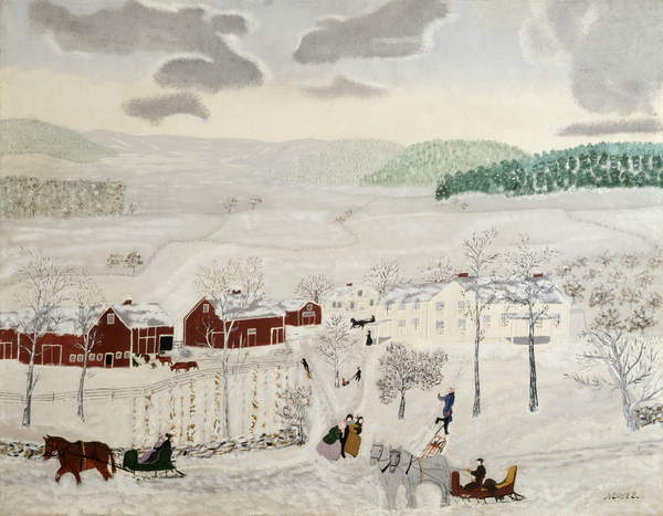 Mt. Nebo in Winter, 1943 (oil on pressed wood), Anna Mary Robertson Moses (Grandma Moses) (1860-1961) / Private Collection / Kallir Research Institute © Grandma Moses Properties Co / Bridgeman Images