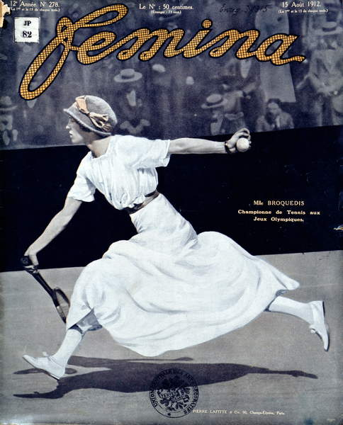 image of Miss Broquedis, Olympic Tennis Champion, front cover of 'Femina', issue 278, 15th August 1912 (coloured photo), French School, (20th century) / Private Collection / © Archives Charmet / Bridgeman Images