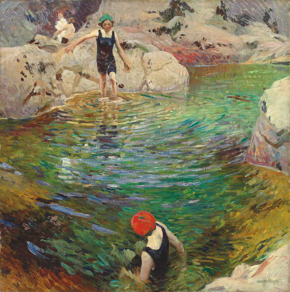 Image of Bathing, c.1912 (oil on canvas), Laura Knight, (1877-1970) / Private Collection / Photo © Christie's Images / Bridgeman Images