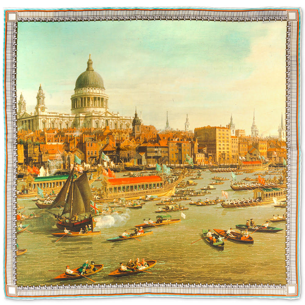 image of the pocket square scarf featuring artwork by Venetian artist Canaletto, depicts The River Thames with St. Paul's Cathedral on Lord Mayor's Day, c.1747-8.