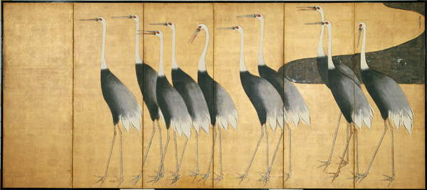 Six-panel screen depicting Cranes, Edo Period (ink, colour, gold & silver on paper), Korin, Ogata (1658-1716) / Freer Gallery of Art, Smithsonian Institution, USA / Freer Gallery of Art, Smithsonian Institution / Gift of Charles L. Freer / Bridgeman Images