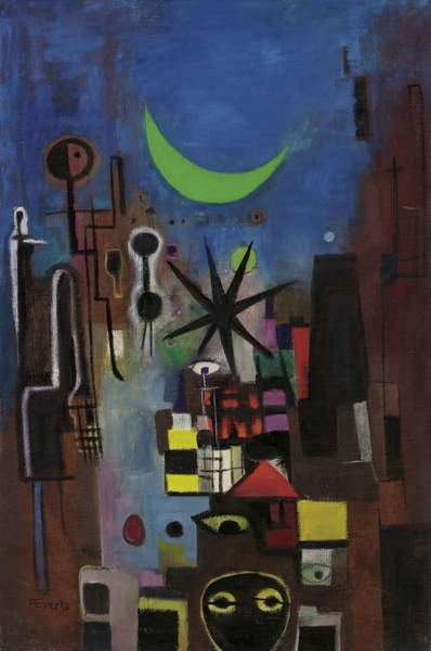 image of the artwork Street at Night, 1950 (oil on canvas), Anneliese Everts, (1908-1967) / Private Collection / © Annaliese Everts / Bridgeman Images