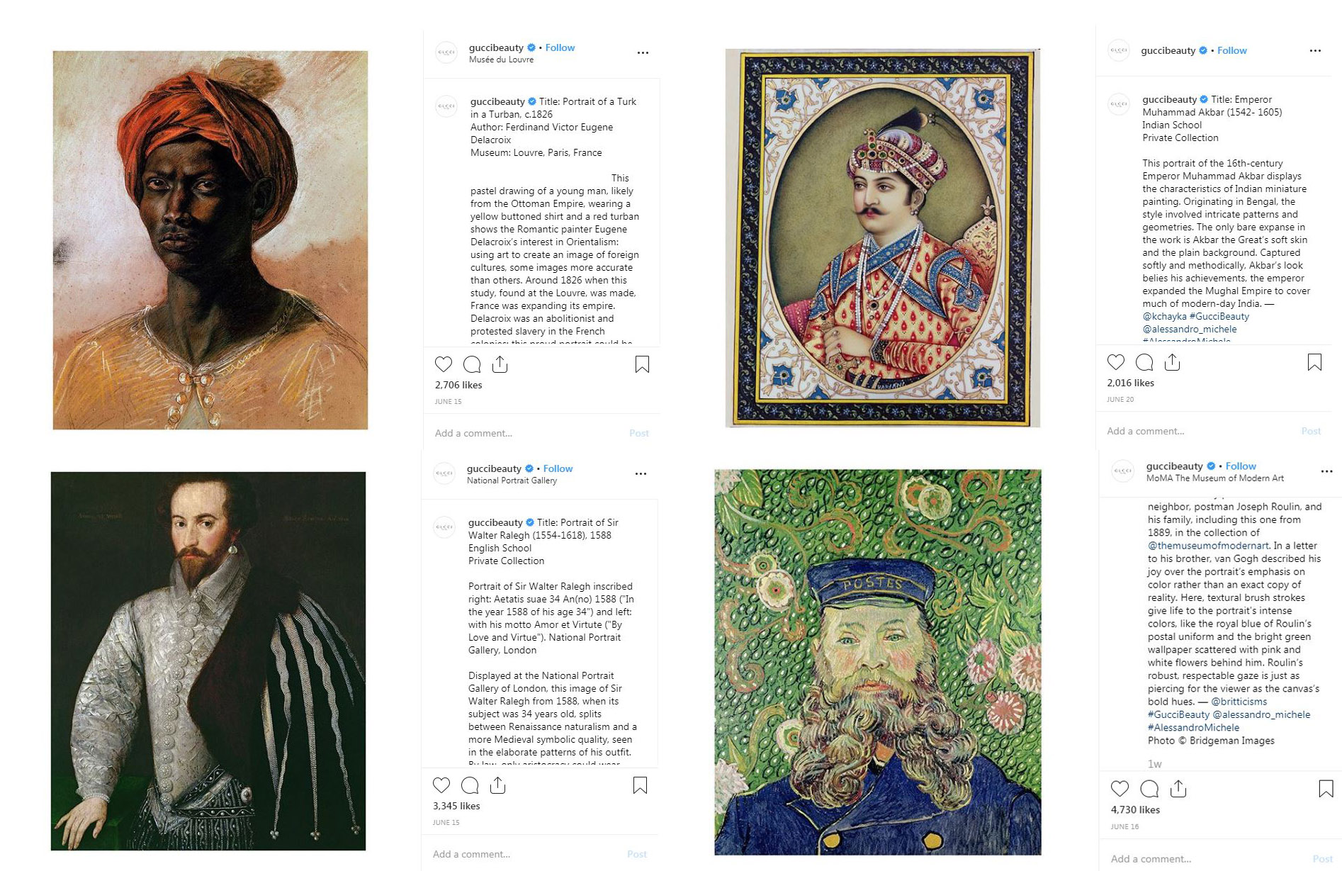 image screenshot of Gucci Beauty Instagram posts using portraits from Bridgeman Images