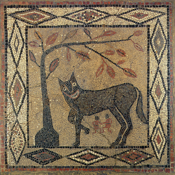 Wolf Mosaic, Aldborough Roman Town, Yorkshire, 300 AD (mosaic) /Leeds Museums and Art Galleries (City Museum) UK/ Bridgeman Images