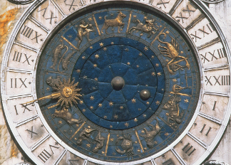 The gold and enamel clock face, design begun by Mauro Coducci (1440-1504) 1496-99 (photo) / Torre dell'Orologio, Venice, Italy