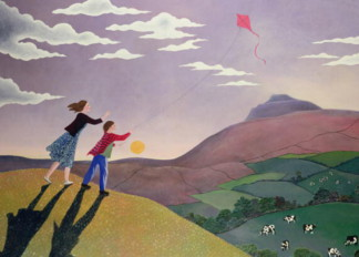 Flying the Kite, by Lucy Raverat (Contemporary Artist) / RONA Gallery, London, UK