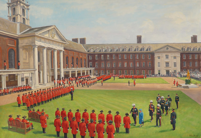 Founders Day, 8th June, 2006 by Julian Barrow (1939-2013) / © Royal Hospital Chelsea, London, UK / Bridgeman Images