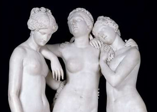 The Three Graces, 1831 (marble), James Pradier, (1790-1852) / Louvre, Paris, France / Giraudon