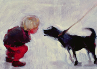 Lucas Talking to a Dog, 2006 (oil on board), Nicola Bealing