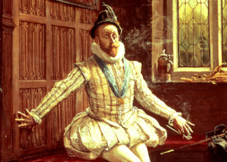 Sir Walter Raleigh's (1552-1618) First Smoke, Anonymous