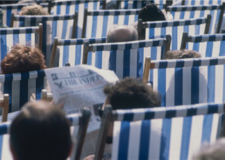 People in Deckchairs,Dick Scott  Stewart, (20th century) / Private Collection / © Special Photographers Archive