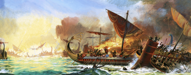 Battle of Salamis, Andrew Howat (20th Century) / Private Collection / © Look and Learn