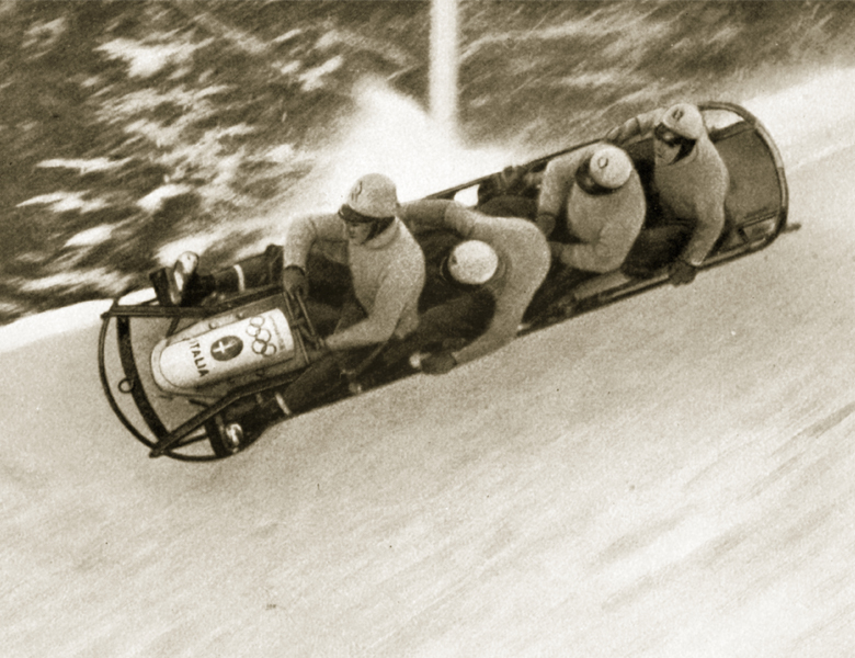 The four-man bobsleigh 'Italy I' cuts it fine, 1936, Private Collection